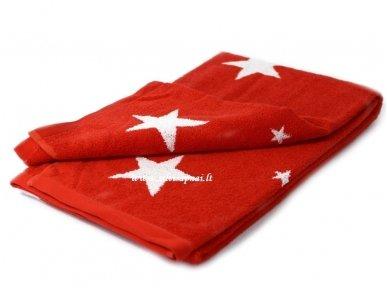 """Šukuotinės medvilnės rankšluostis """"Stars"""" (red) 85x200 cm 2"""