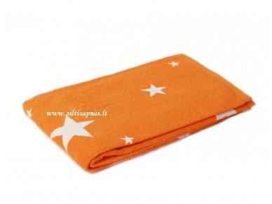 """Šukuotinės medvilnės rankšluostis """"Stars"""" (orange) 85x200 cm"""