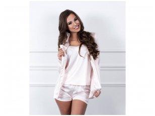 Trijų dalių pižama su švarkeliu iš Armani šilko, pudros spalvos