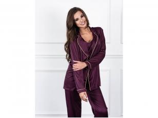 NUKAINUOTA trijų dalių pižama su kelnėmis iš Armani šilko, baklažaninė (M)