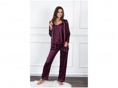 Trijų dalių pižama su kelnėmis iš Armani šilko, baklažaninė 2