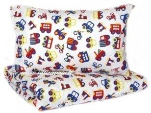 """Vaikiška medvilninė paklodė  """"Mažos mašinėlės"""" (100x140 cm)"""