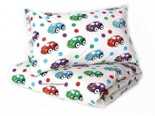 """Vaikiška medvilninė paklodė su guma """"Mažos mašinėlės"""" (80x160+15 cm)"""