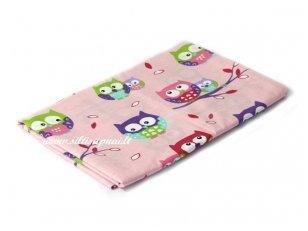 """Vaikiška medvilninė paklodė su guma """"Pelėdžiukai"""" (rožinis)"""