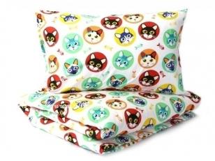 """Vaikiška pagalvėlė su pagalvės užvalkalu """"Margi katinai""""  (40x40 cm)"""