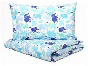 """Vaikiškas medvilninis pagalvės užvalkalas """"Maži drambliukai"""" (40x60 cm)"""