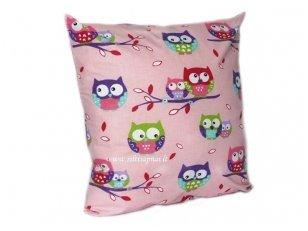 """Vaikiška pagalvėlė su pagalvės užvalkalu """"Pelėdžiukai"""" (rožinis) (45x45 cm)"""