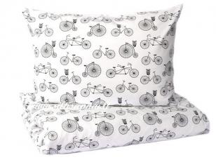 "Vaikiškas medvilninis pagalvės užvalkalas ""Dviračiu"" (50x70 cm)"