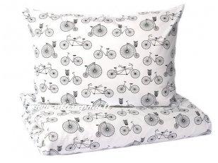 """Vaikiškas medvilninis pagalvės užvalkalas """"Dviračiu"""" (40x70 cm, su užtrauktuku)"""