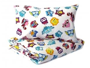 """Vaikiškas medvilninis pagalvės užvalkalas """"Linksmosios pelėdos"""" (40x60 cm)"""