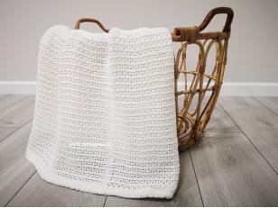 """Vaikiškas medvilninis pledas į vežimėlį """"Baltas korys"""" 75x100 cm"""