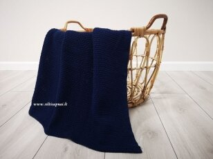 """Vaikiškas medvilninis pledas į vežimėlį """"Pasaka""""  (tamsiai mėlynas) 75x110 cm"""