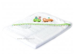 """Vaikiškas rankšluostis su gobtuvu """"Traukinukas"""" 75x75 cm"""