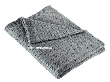 """Vaikiškas megztas merinosų vilnos pledas """"Classic grey"""" (70x90 cm, double cable)"""