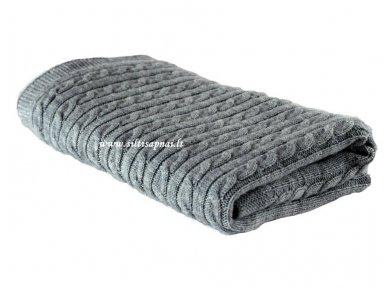 "Vaikiškas megztas merinosų vilnos pledas ""Classic grey"" (70x90 cm)"