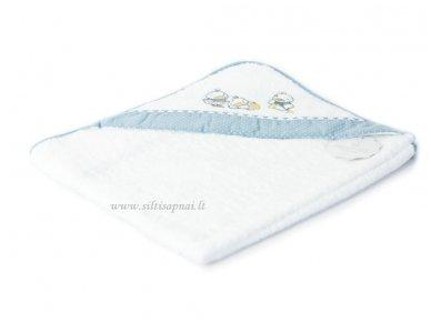 """Vaikiškas rankšluostis su gobtuvu """"Ančiukai"""" (mėlynas) 75x75 cm"""