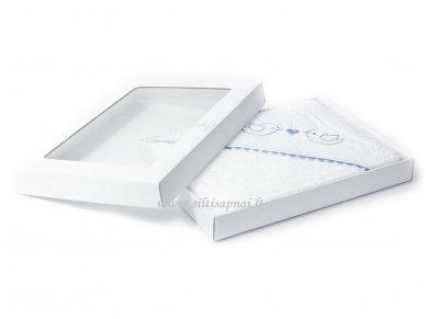"""Vaikiškas rankšluostis su gobtuvu """"Paukšteliai"""" (mėlynas) dovanų dėžutėje 100x100 cm"""