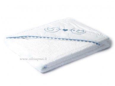 """Vaikiškas rankšluostis su gobtuvu """"Paukšteliai"""" (mėlynas) dovanų dėžutėje 100x100 cm 2"""