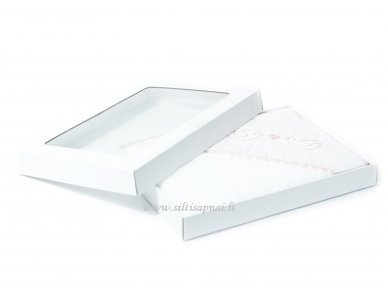 """Vaikiškas rankšluostis su gobtuvu """"Paukšteliai"""" (rožinis) dovanų dėžutėje 100x100 cm"""