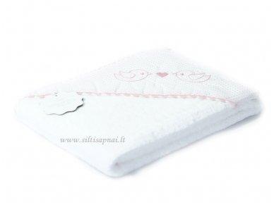 """Vaikiškas rankšluostis su gobtuvu """"Paukšteliai"""" (rožinis) dovanų dėžutėje 100x100 cm 2"""